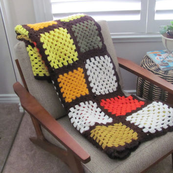 1970's Vintage Afghan, Crochet Granny Square Afghan, Throw Blanket, Fall Home Decor, Brown, Gold, Yellow, Orange, Mid Century