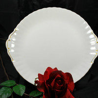 Oval Platter Gold and White Art Deco style in Porcelain by Royal Albert