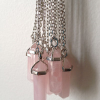 "Lucky Rose Quartz Crystal Point Necklace 30"" Necklace Bohemian Boho Gypsy NEW"