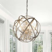 Benita Antique Copper 3-Light Metal Globe Crystal Chandelier | Overstock.com Shopping - The Best Deals on Chandeliers & Pendants