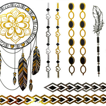 Dreamcatcher Metallic Temporary Tattoo Gold Feathers Chains Silver Gift Present Flash Tattoo Gift For Her Beach Birthday Present