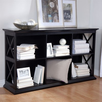 Black Solid Wood Frame Sofa Table with 2 Shelves