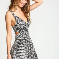 Cut Out Geometric Flare Dress