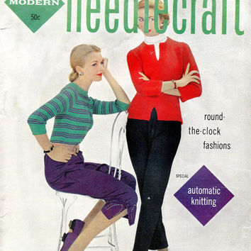 1950s Needlecraft Magazine Fall Issue Knitting Crochet Sewing Patterns Dress Skirt Bolero Vintage Retro Fashion Instruction Booklet