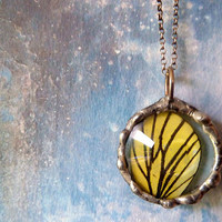 Real Yellow Butterfly Wing Necklace Sterling by RenataandJonathan