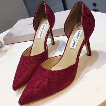 Jimmy Choo 2018 summer new sexy lace shoes wild low-heeled shoes F-OMDP-GD red