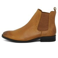 Waxed Chelsea Boots in Brown