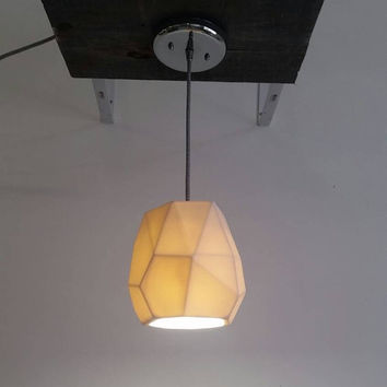 Geometric Pendant Light, Translucent Porcelain, Ceramic Lighting, Choose your cord and canopy color