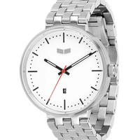 Vestal ROS3M003 Men's Watch Simple White Dial Roosevelt Metal With Silver Band