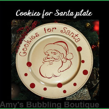 Santa Plate, Cookie for Santa, Christmas Gift, Christmas Plate, Christmas Eve, Home Decor, Cookies for Santa Plate, Gold Plate Santa Cookies