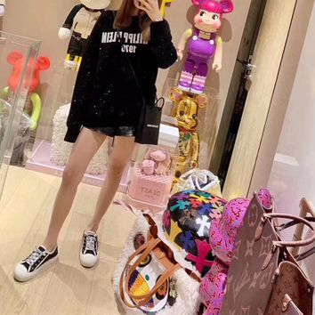 """Philipp Plein"" Women Round Neck Diamond All-match Fashion Letter Personality Long Sleeve Sweater Tops"