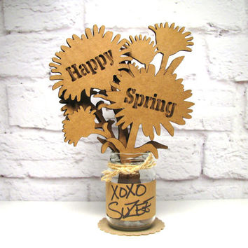 HAPPY SPRING - Mini Mason Jar Flower Arrangement Cute Gift Idea Cardboard Bouquet