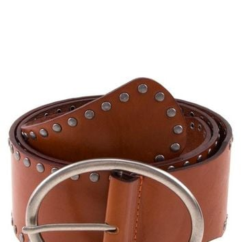 Joni Studded Leather Belt in Camel