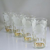 4 Drinking Tumblers - 8 Ounce Size - Stylized Flower Gold Accent - Vintage Mid Century Highball Barware