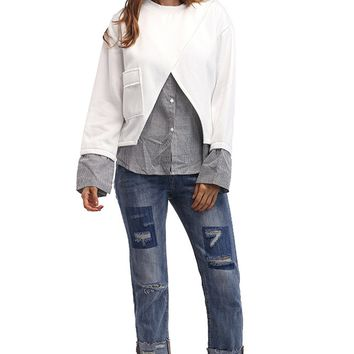 Patchwork Long Sleeve Round Neck Loose Blouse