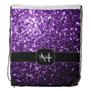 Beautiful Purple glitter sparkles Monogram Drawstring Backpacks