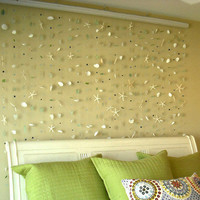 400 Piece, Genuine Sea Glass, Sea Shell and Glass Bead Wall Hanging, Beach Home Decor