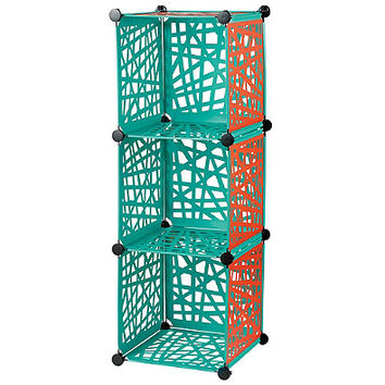 Reversible Cube Grid in Aqua/Red Orange