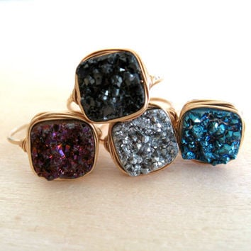 Blue Druzy Ring Azurita Vitrine Cocktail Jewel Square Bezel ring Gift for her Under 50