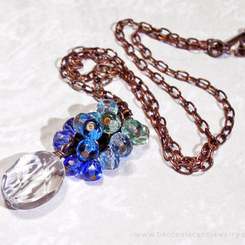 Blue Ombre Crystal Cluster Necklace with Rock Crystal & Czech Glass - Aqua Green Simple Necklace Antique Brass Vintage Look Jewelry
