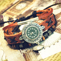 Wristwatch Handmade Wrist Watches Vintage Retro Ladies Girls Womens Mens Leather Bangle Beaded Bracelet Quartz Lucky Lock Pendant (GA0014)
