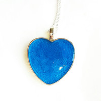 Stunning Blue Resin Heart Necklace Blue Heart Pendant
