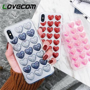LOVECOM Case For iPhone XS XR XS Max X 5 5S SE 6 6S 7 8 Plus Glitter Powder Heart Transparent Soft TPU Phone Back Cover Cases