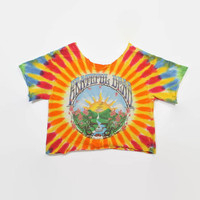 Vintage 90s GRATEFUL DEAD T-SHIRT / 1990s Tie-Dye Cut Off Crop Top M - L
