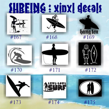 SURFING vinyl decals - 167-175 - vinyl stickers - car window decal - personalized stickers - surfer - surfer girl - car decals