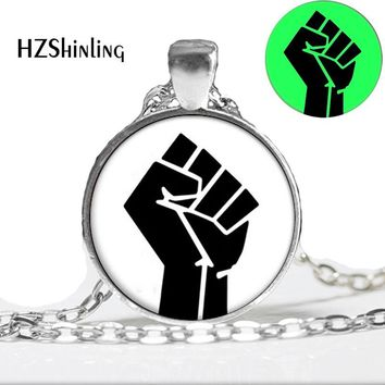 New Fashion Glowing Jewelry MLK FIST Necklace Black Panther Party Glowing Pendant Glass Cabochon Necklace Pendant