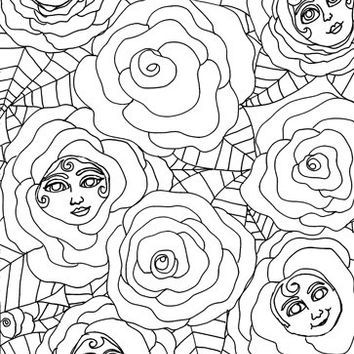original flower rose people coloring page, coloring book page, adult coloring book, abstract coloring page, surreal color book outline art