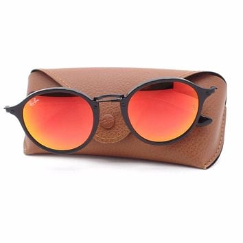 Ray Ban RB 2447 901/4W 49 Black Orange Fade Mirror Authentic Sunglasses