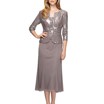 Alex Evenings Plus T Length Dress with Sequined Jacket