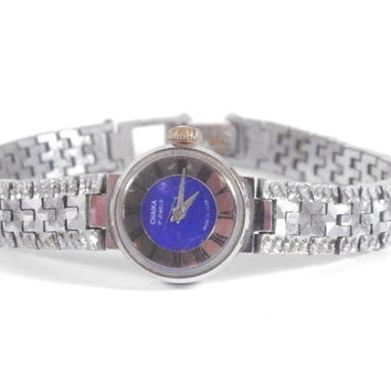 "Womens watch, Blue vintage watch, Soviet watch, Women's soviet watch, Vintage watch, Russian watch, ""Chaika"" 17 jewels, Mechanical watch"