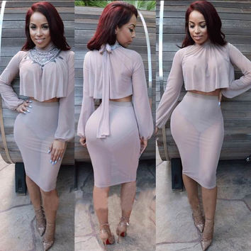 Elastic Long Sleeve Back Ribbon Tie CropTop and Bodycon Midi Skirt