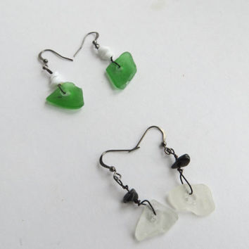 Seaglass earrings Green and Blanc with black steel- Raw North sea glass gothic gift The Netherlands for 2017-eco friendly recycled seaglass