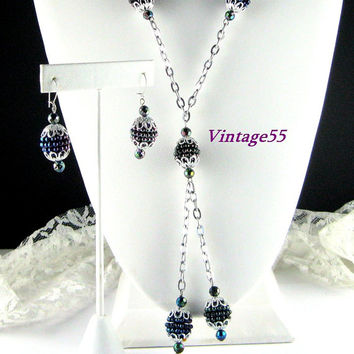 Vintage Black berry Necklace Earrings Pierced wire