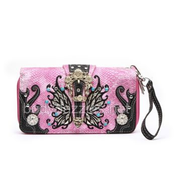 Pink Butterfly Wallet with Hand Strap and Gold Hardware