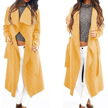 Yellow Plain Irregular Sashes Turndown Collar Long Sleeve Fashion Coat