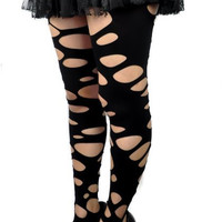Women's Rip Torn Gothic Black Tights