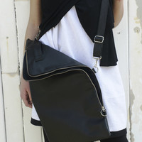 NEW COLLECTION S/S 15! Real Leather Bag/ Black Bag with Zipper/ Over the Shoulder Bag/ Casual Bag