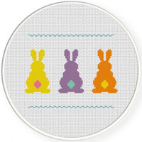 """Handmade, Unframed """"Bunnies Behinds"""" Cross Stitch- Easter, Spring, Summer, Holiday, Bunnies, Bunny, Home Decor, Easter Decoration, Gift"""