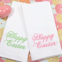 Happy Easter Script Embroidered Cloth Napkins /Set of 4/ Easter embroidered napkins, easter cloth napkins, easter linens, Easter table ideas