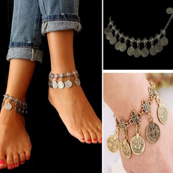 Fashion Bohemian Moon Lovers Tassel Coin Antique Gold/Silver Anklet Chain Bracelet Beach Jewelry = 1928874884
