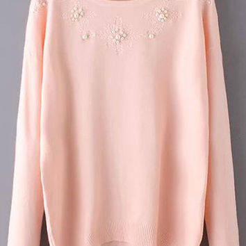 Pink Long Sleeve Bead Embroidered Knitwear