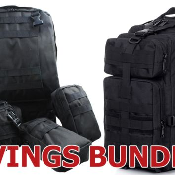 Tactical Military Style Hiking Backpack Bundle