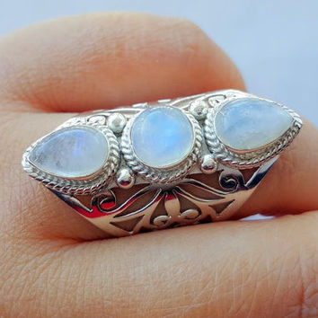 Moonstone Ring - Rainbow Moonstone Statement Ring - Moonstone Jewelry - Sterling Silver Ring - Gemstone Ring - Unique Large Ring