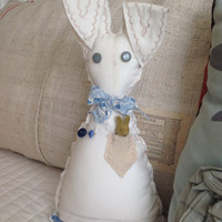 Vintage sack White bunny with pocket, farmhouse bunny, Easter bunny, bunny nursery decor