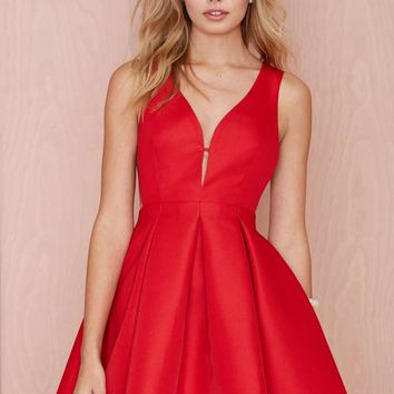 Pleat Elite Fit-and-Flare Dress