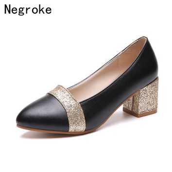 2018 Women Shoes Flock Hoof High Heels Platform Women Pumps Gold Silver Chunky Heels Ladies Wedding Shoes Woman Zapatos Mujer
